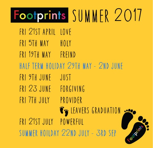 Footprints Term Card Summer 2017